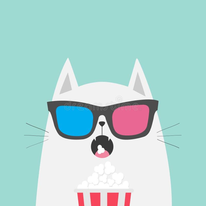 Белый кот есть попкорн Театр кино Характер милого шаржа смешной Выставка фильма Котенок смотря кино в стеклах 3D Голубое backg иллюстрация вектора