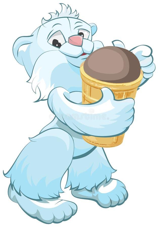 Белый медведь держа конус мороженого шоколада бесплатная иллюстрация
