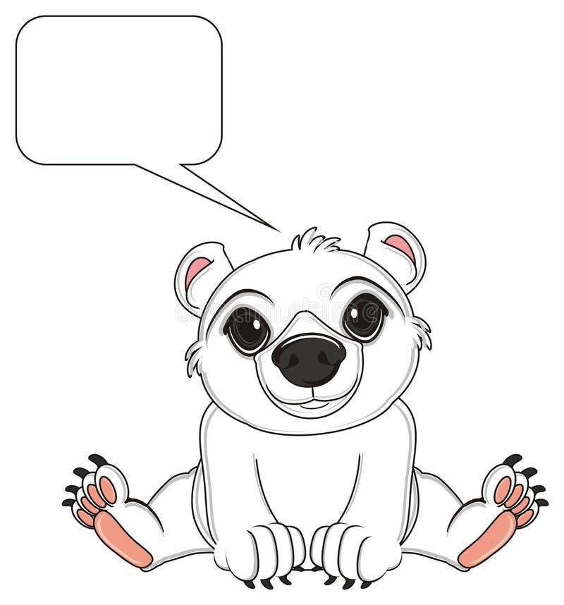 Белый медведь и пустая сноска иллюстрация вектора