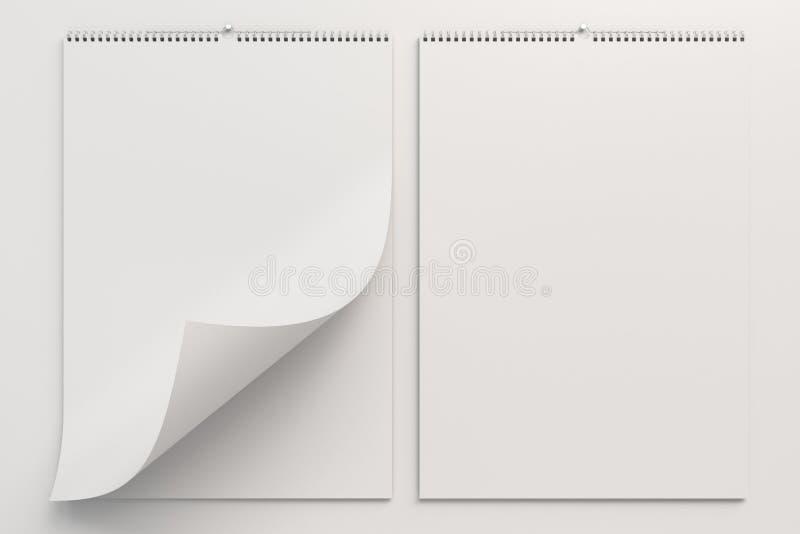 Белый модель-макет календаря стены на белой предпосылке стоковые изображения