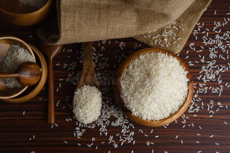 Белый органический рис жасмина стоковое изображение