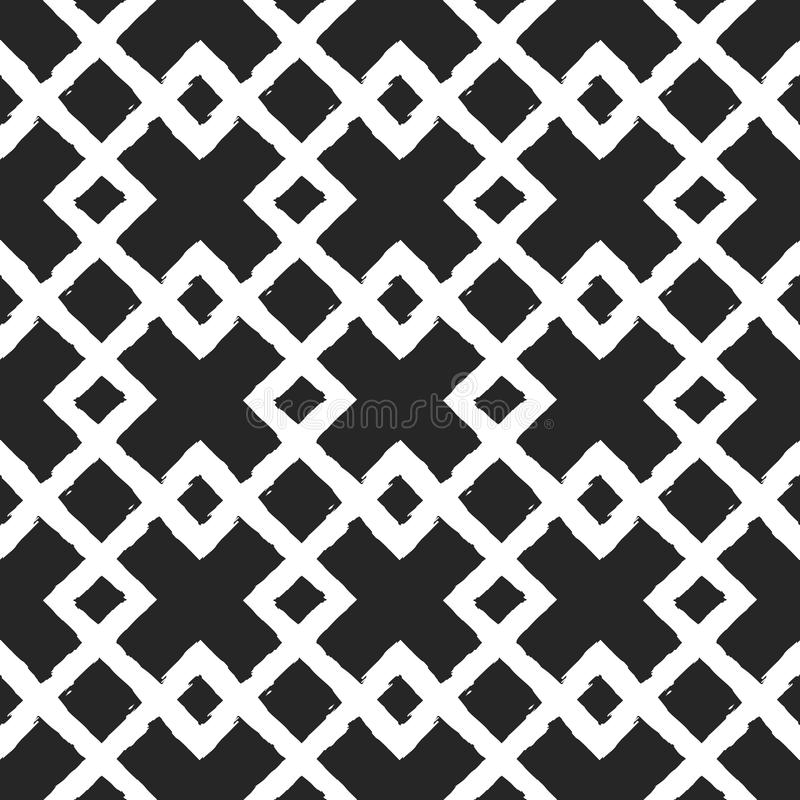 Белый орнамент на черной предпосылке Пересекая rhombs Покрашенная вручную грубая щетка Геометрическая безшовная картина grunge иллюстрация вектора