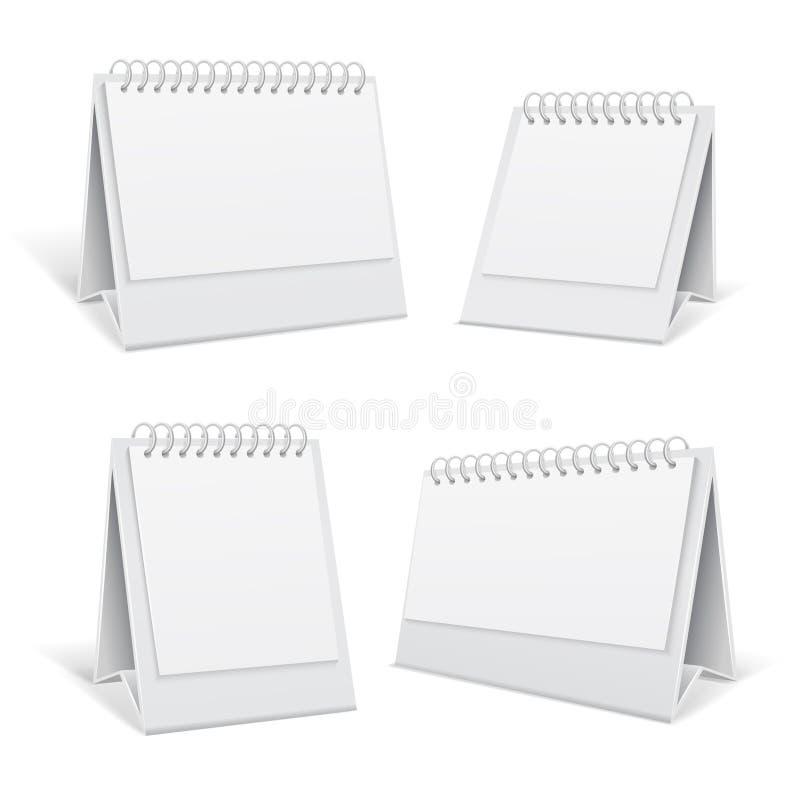 Белый офис спирали 3d незаполненной таблицы calendars иллюстрация вектора иллюстрация вектора