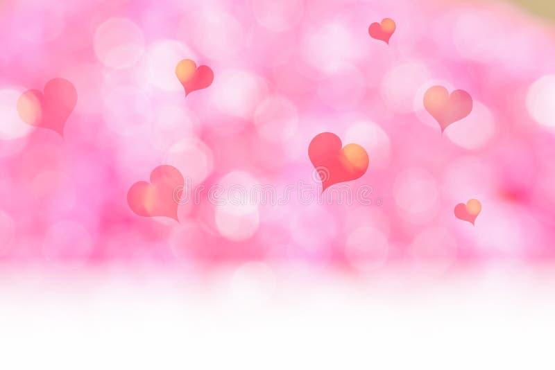 Белый пол с розовым bokeh сердца и нерезкости освещает предпосылку, Moc бесплатная иллюстрация