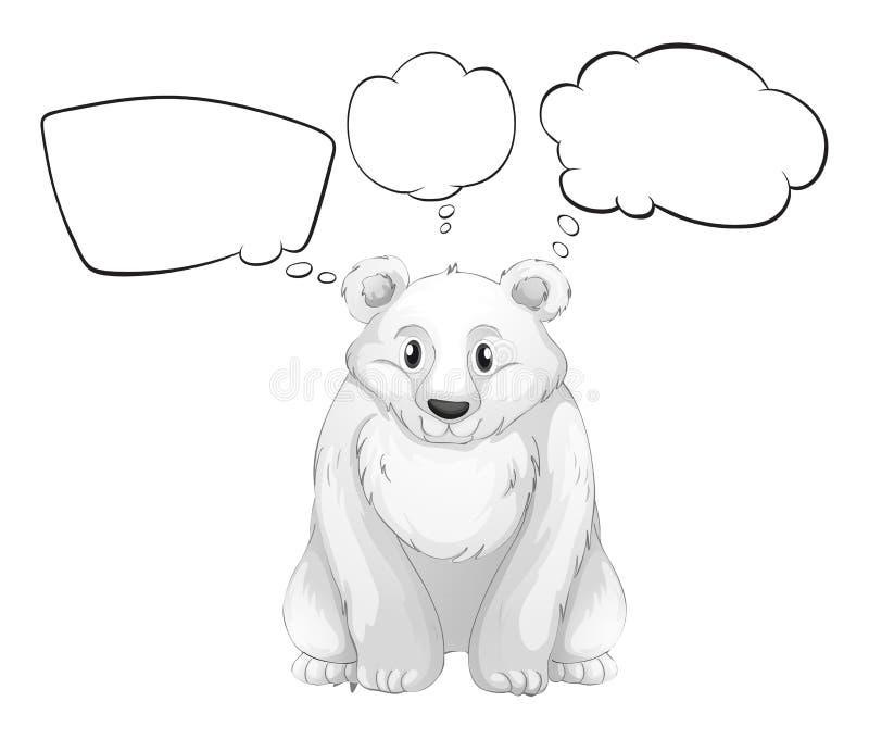 Белый полярный медведь с пустыми мыслями иллюстрация вектора