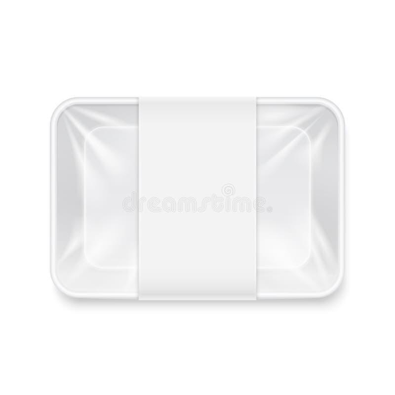 Белый прозрачный пустой устранимый пластичный модель-макет вектора контейнера подноса еды иллюстрация штока