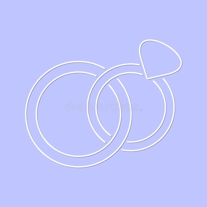 Белый простой значок обручальных колец вектора иллюстрация вектора
