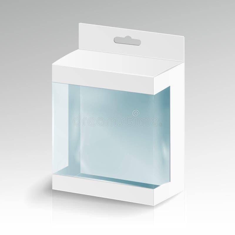Белый пустой вектор прямоугольника картона Белая коробка пакета с окном прозрачной пластмассы Упаковка продукта иллюстрация штока