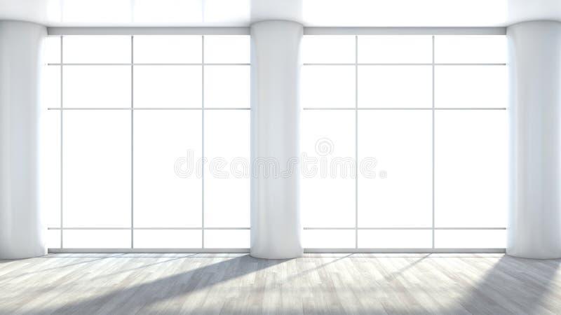 Белый пустой интерьер с большим окном иллюстрация вектора
