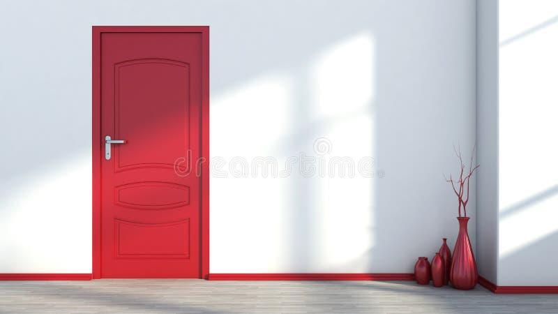 Белый пустой интерьер с красными дверью и вазой иллюстрация штока