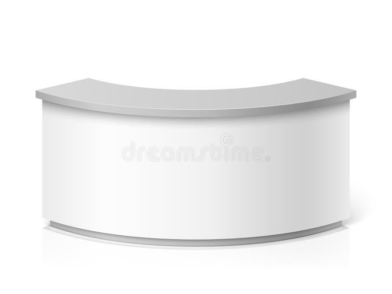 Белый пустой современный прием Круглая иллюстрация вектора справочного стола или выставки встречная иллюстрация вектора