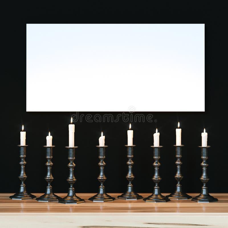 Белый плакат на черной стене осветил разнообразие свечи Moc бесплатная иллюстрация