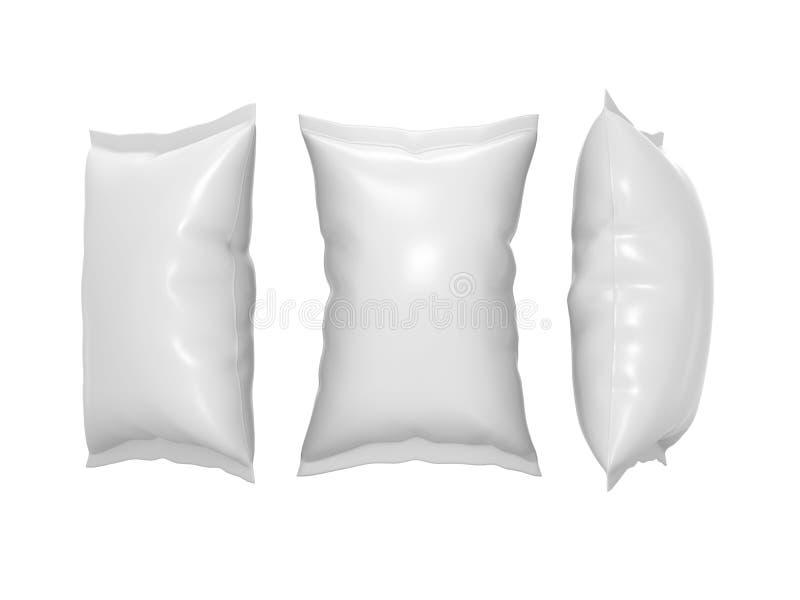 Белый пластичный мешок закуски с путем клиппирования иллюстрация вектора