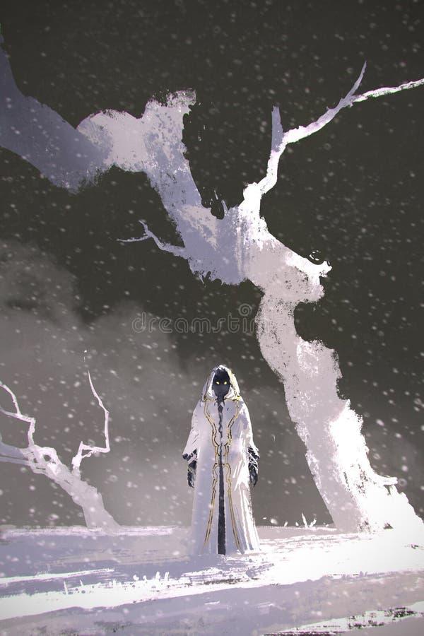 Белый плащ стоя в пейзаже зимы с белыми деревьями иллюстрация вектора