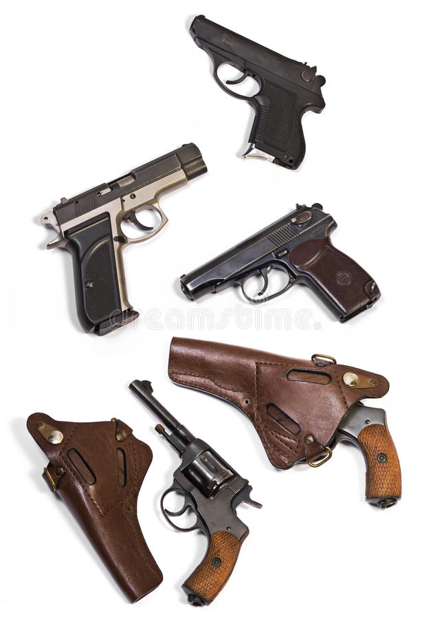Белый револьвер пистолета оружий предпосылки стоковые фотографии rf