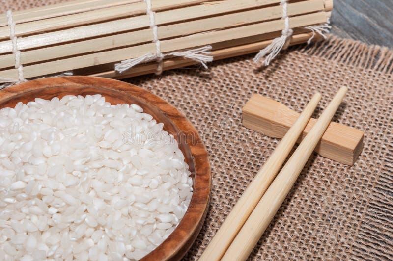 Белый рис, скатерть стоковые изображения rf
