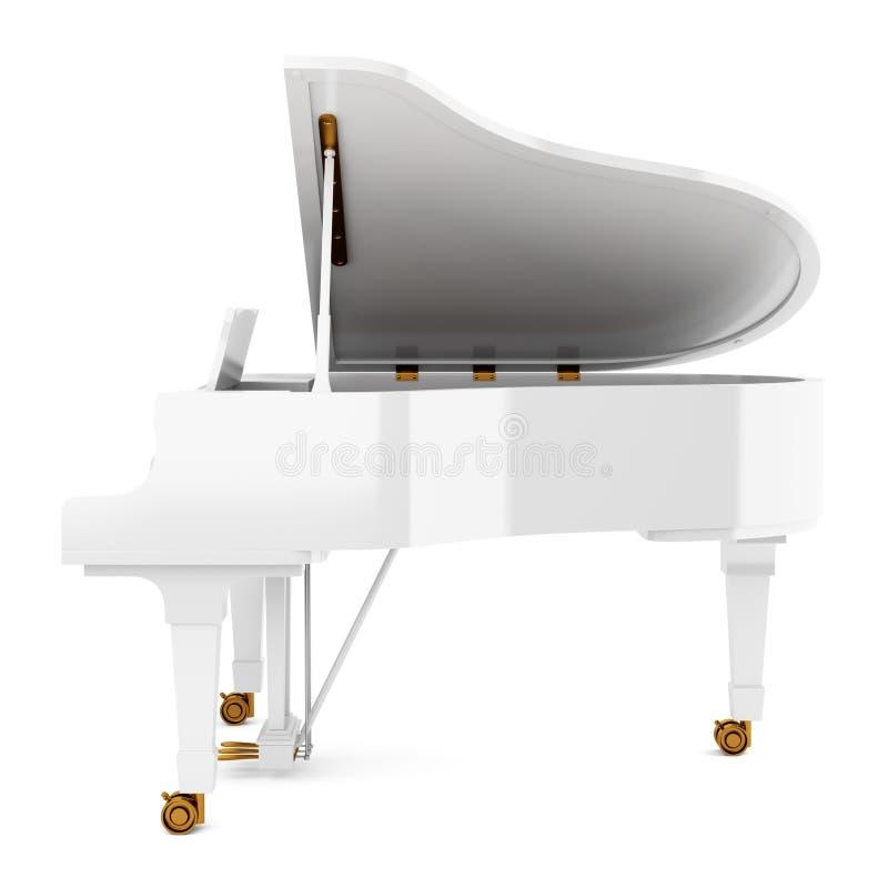Белый рояль изолированный на белизне иллюстрация вектора