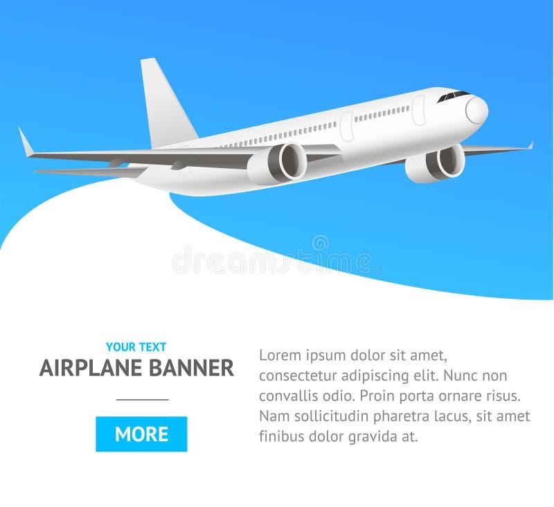 Белый самолет двигателя в знамени воздуха вектор бесплатная иллюстрация