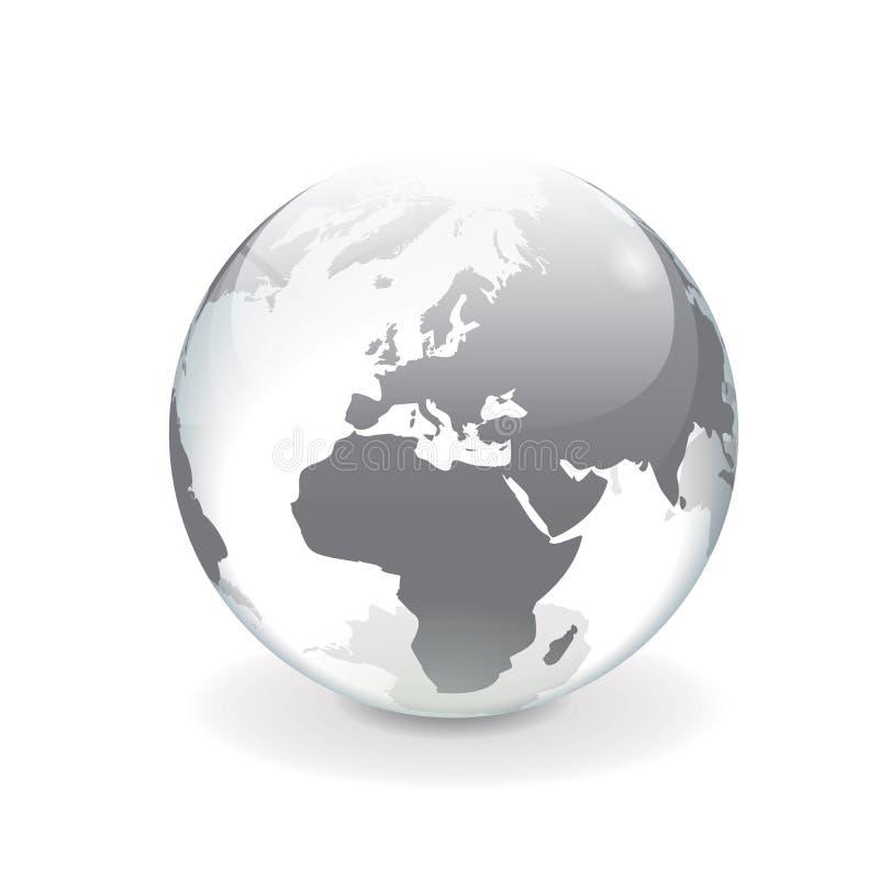 Белый серый глобус мира вектора - Европа бесплатная иллюстрация