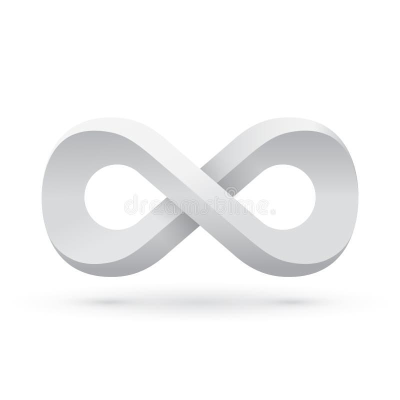 Белый символ безграничности иллюстрация вектора