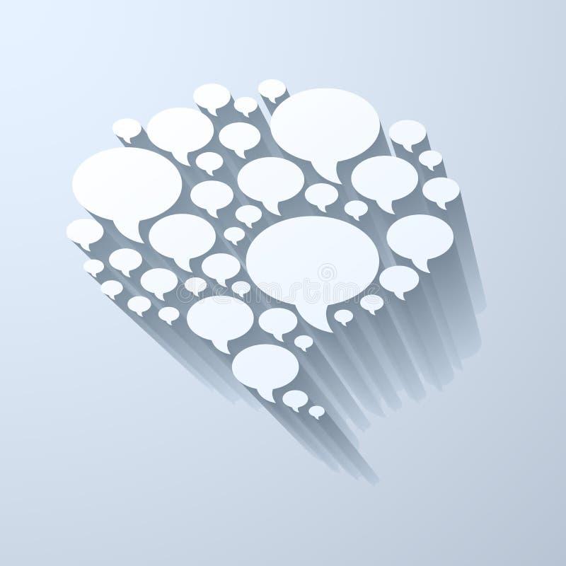 Белый символ пузыря болтовни на свете - серой предпосылке иллюстрация штока