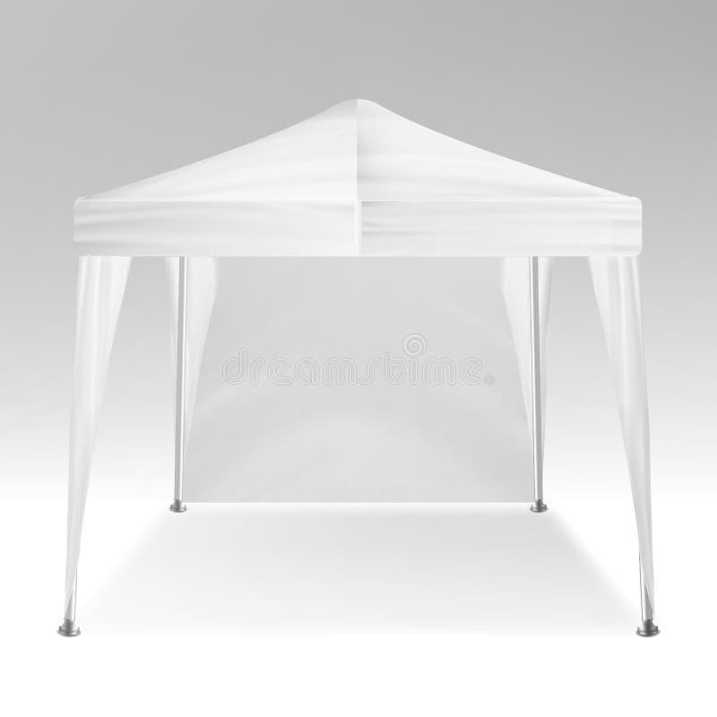 Белый складывая вектор модель-макета шатра Шатёр выдвиженческого внешнего шатра торговой выставки события всплывающего передвижно иллюстрация вектора