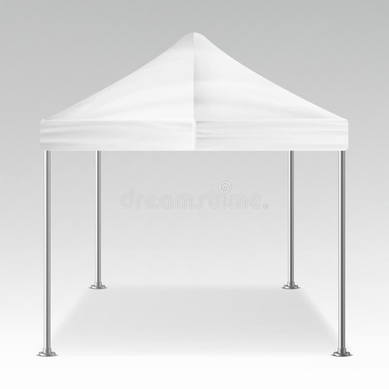 Белый складывая вектор павильона шатра внешний Реалистический пробел шаблона для выставки, выставки, партии или свадьбы также век иллюстрация вектора