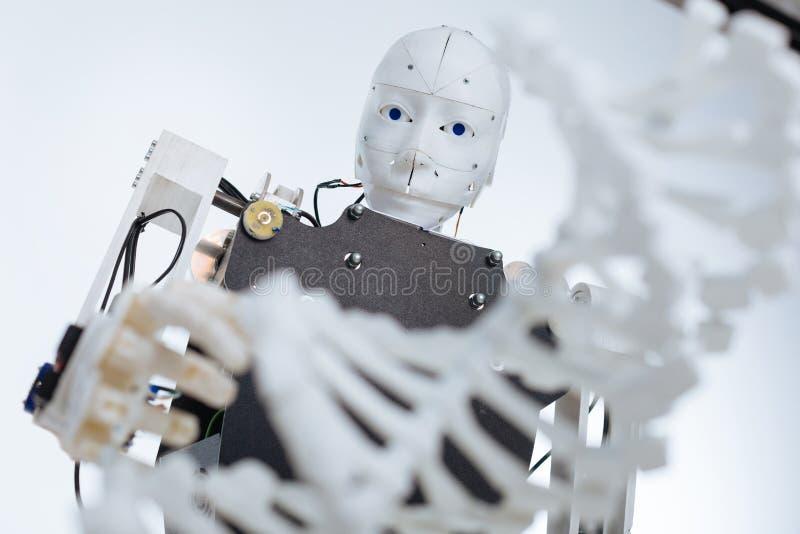 Белый сложный робот изучая геном стоковое изображение