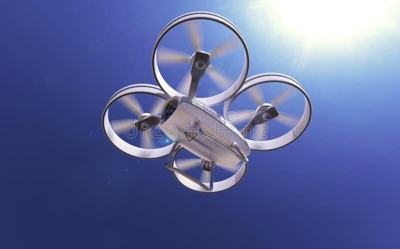 Белый трутень quadrocopter в солнечном небе, высококачественном представляет иллюстрация штока