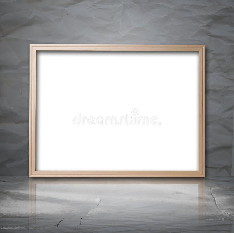 Белый фон с деревянной рамкой в комнате стоковая фотография rf