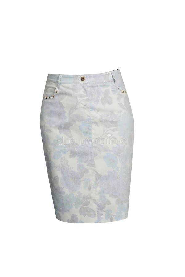 Белый хлопок flared юбка стоковое изображение rf