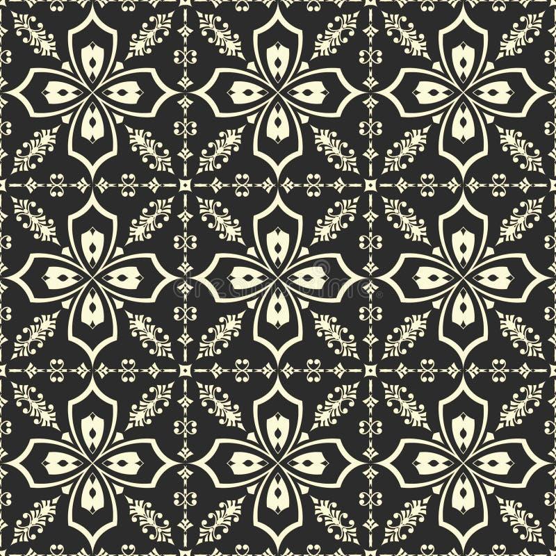 Белый цветочный узор на черной предпосылке бесплатная иллюстрация