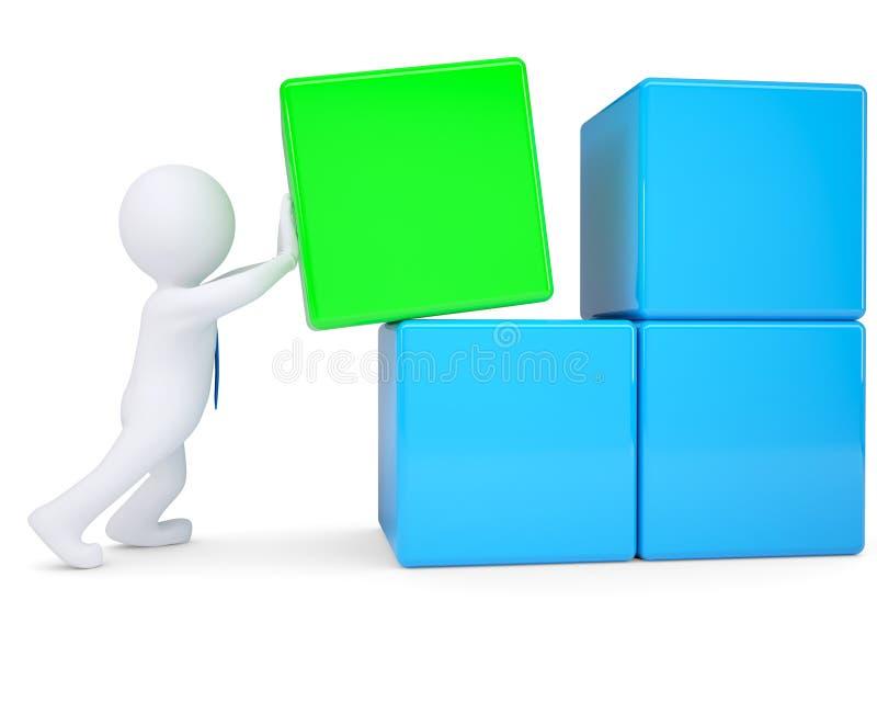 белый человек 3d собирает большой куб блоков бесплатная иллюстрация