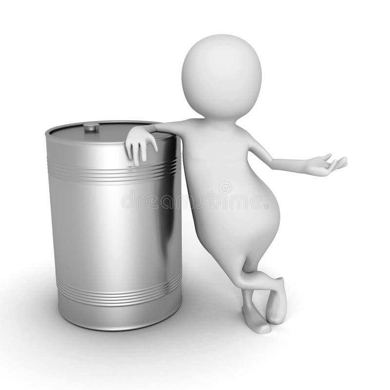 Белый человек 3d с металлическим бочонком масла иллюстрация вектора