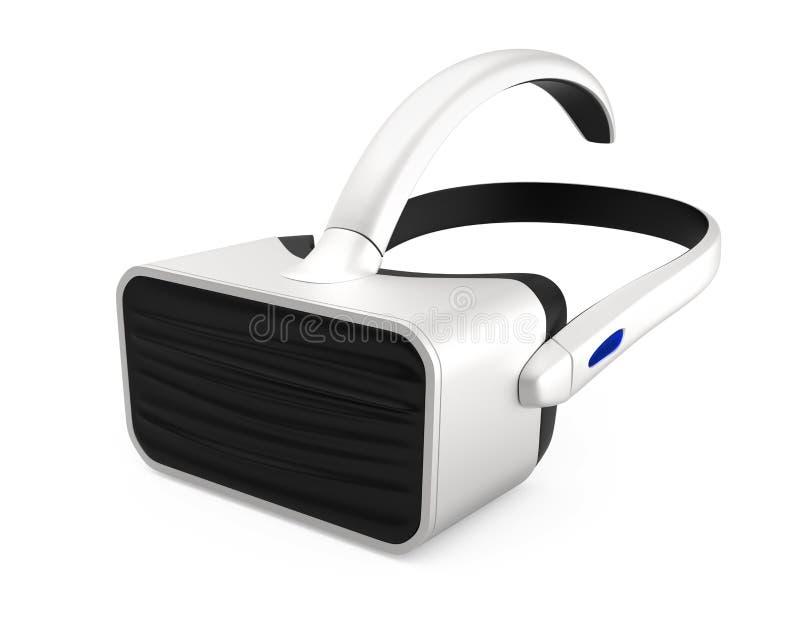 Белый шлемофон VR на белой предпосылке иллюстрация вектора
