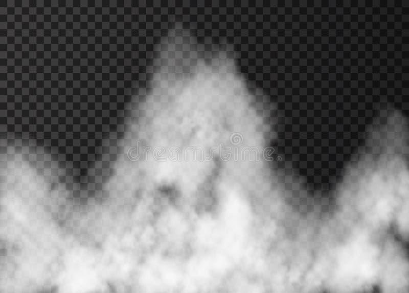 Белый дым огня изолированный на прозрачной предпосылке иллюстрация вектора
