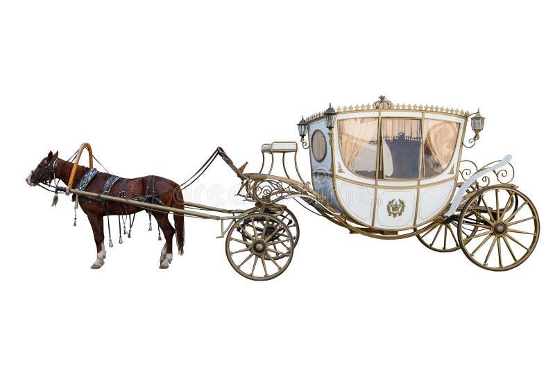 Белый экипаж нарисованный лошадью каштана изолированной на белой предпосылке стоковые фотографии rf