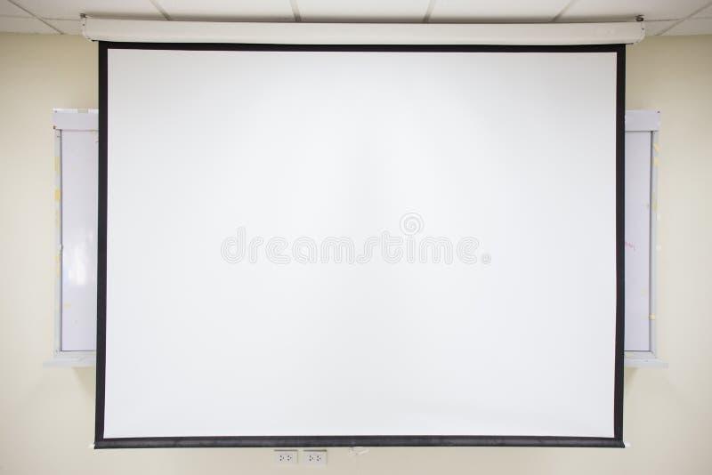 Белый экран репроектора стоковая фотография rf