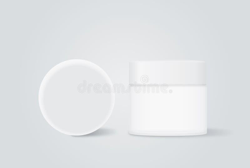 Белый cream опарник с белой крышкой бесплатная иллюстрация
