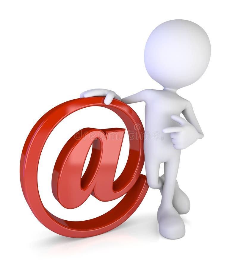 Белый 3d человек - контакт электронной почты иллюстрация вектора