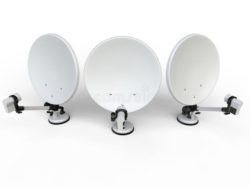 3 белых спутниковой антенна-тарелки ТВ - взгляд сверху иллюстрация вектора