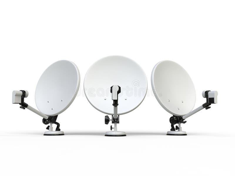 3 белых спутниковой антенна-тарелки ТВ иллюстрация вектора