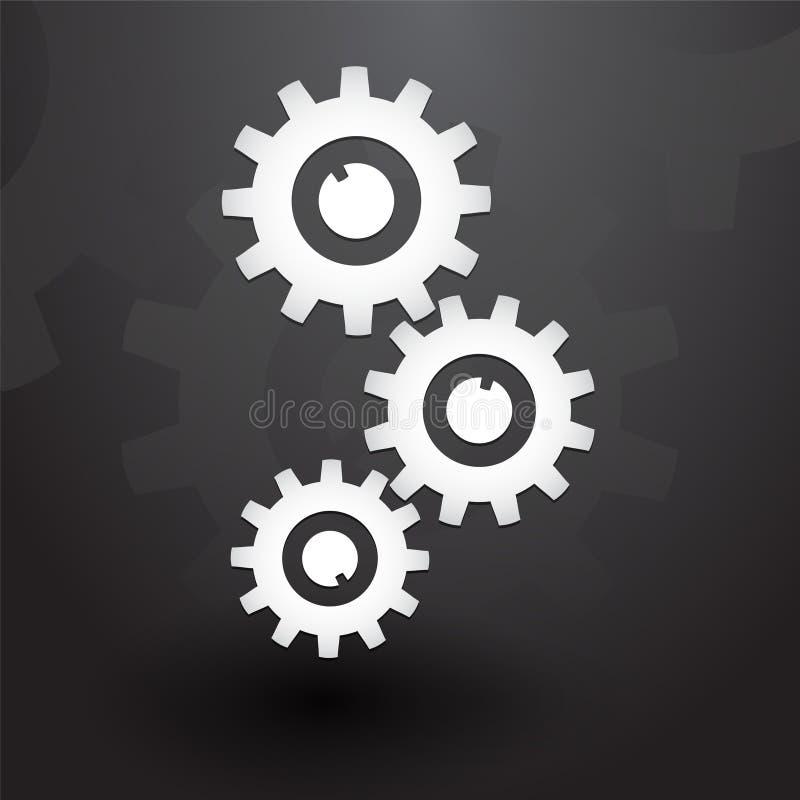 3 белых шестерни бесплатная иллюстрация