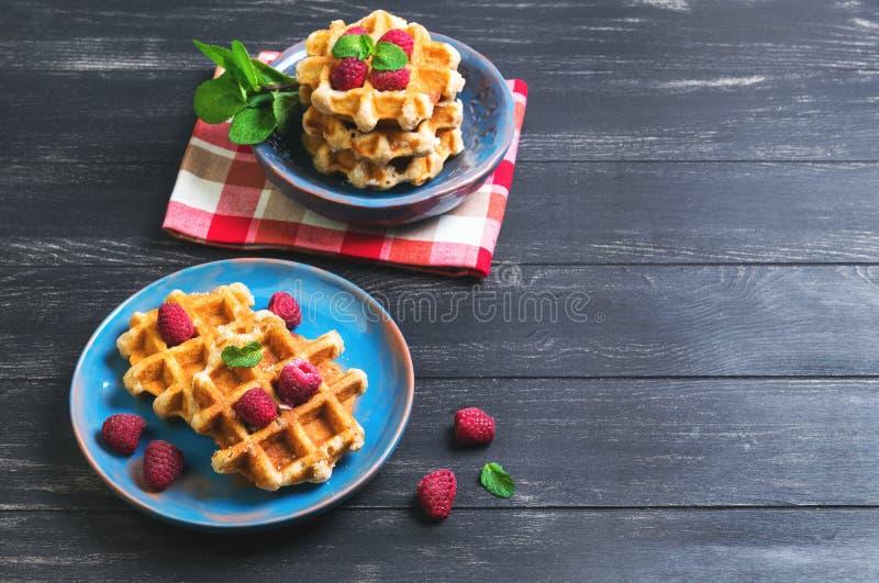 Бельгийские сочные круглые waffles с свежими полениками стоковое изображение