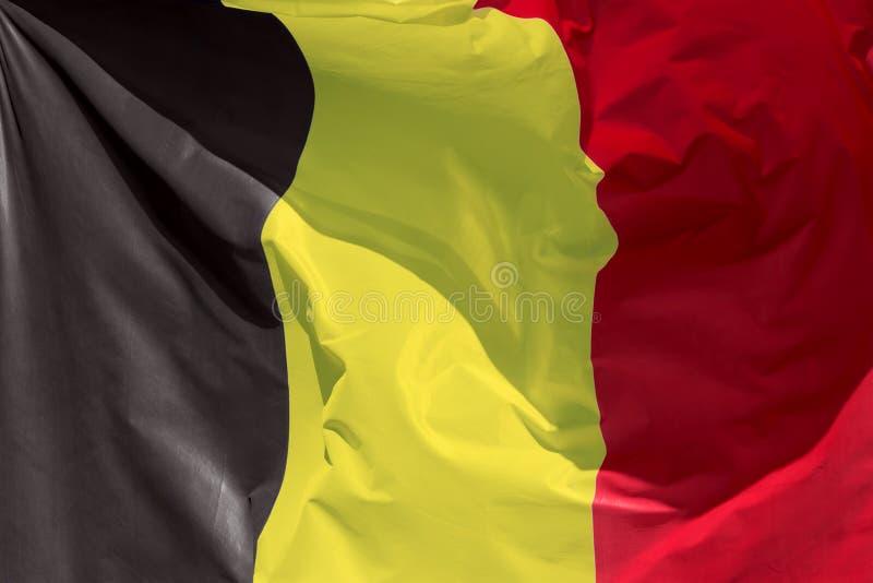 Бельгийский флаг плавая в ветер стоковые фото