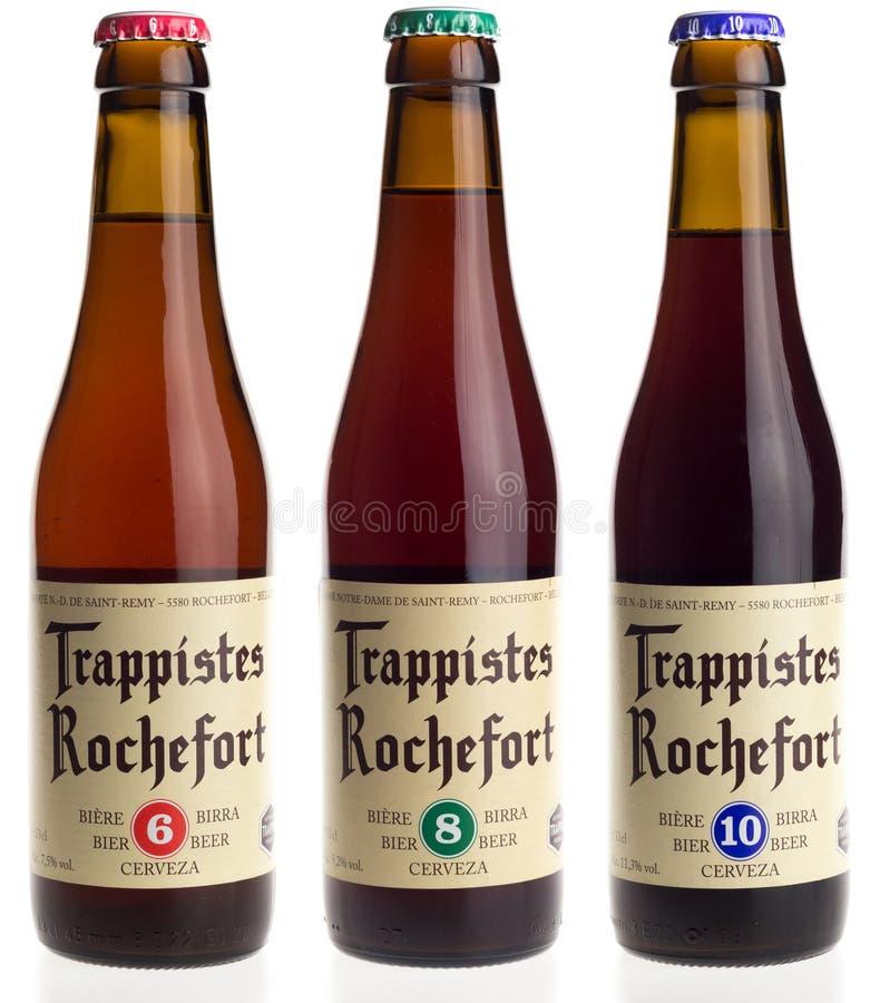 Бельгийское пиво Rochefort 6, 8, и 10 trappist изолированные на белизне стоковые изображения rf
