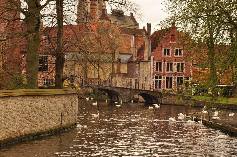 Бельгия bruges Старые здания и мост фронта канала стоковое фото