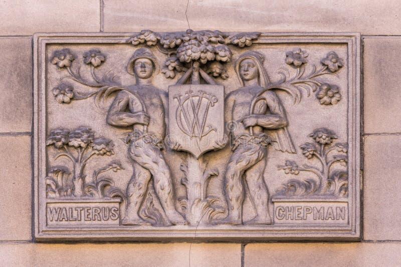 Библиотека настенной росписи Walterus Chepman центральная, Эдинбург, Шотландия, Великобритания стоковые фотографии rf