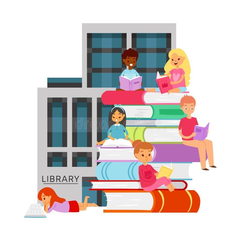 Библиотека с изучать различных студентов национальности с иллюстрацией вектора книг и книжных полков o иллюстрация штока