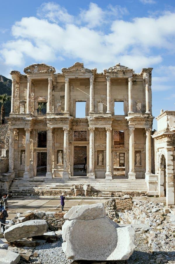 Библиотека Celcus на древнем городе Selcuk Izmir Ephesus стоковое фото rf